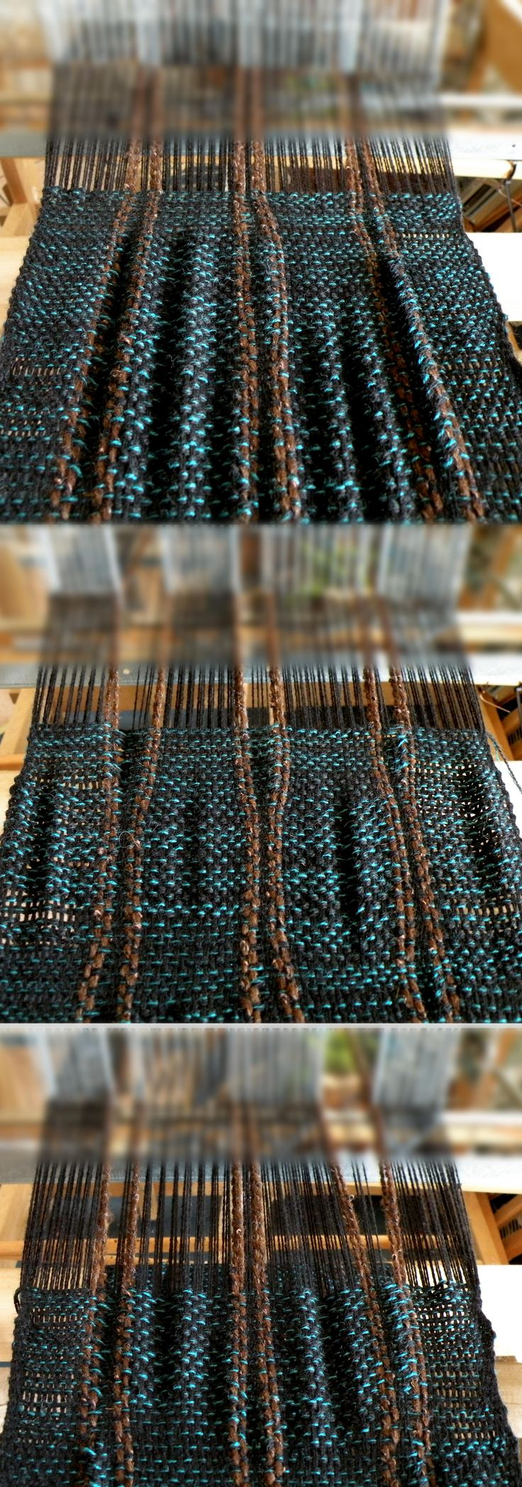 Changing warp densitiy while weaving. Cool!