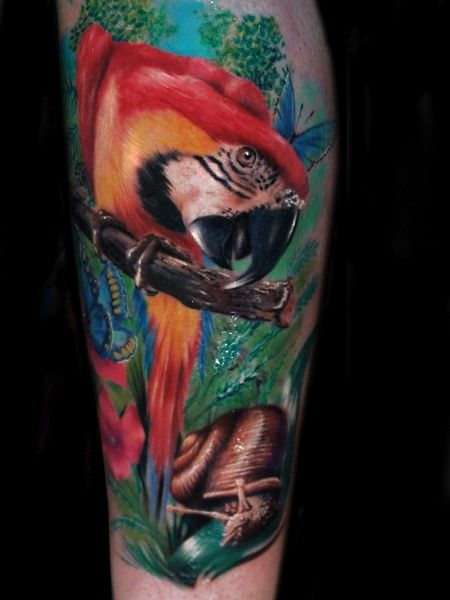 A colorful photo realistic tattoo of a parrot and insects by Alex de Pase