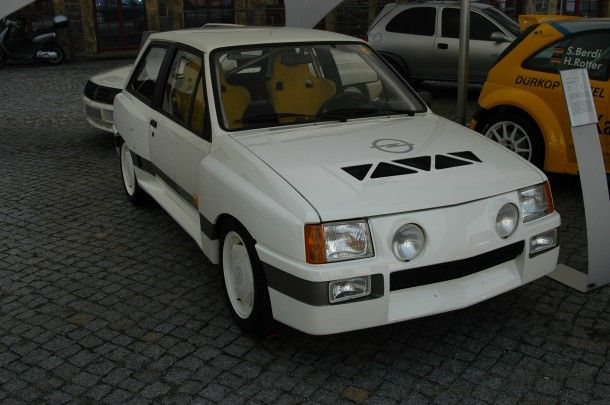 Opel Corsa A Sprint, only 50 of these wide-arched models were made and only ever really saw the German roads. The pokey 1.3 engine was tuned by irmscher to produce 126 bhp. The intention for these were to use them for rallying, which they eventually did.