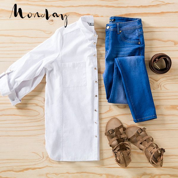 "Our #ManCrushMonday has to be the ""boyfriend"" shirt. Crisp, cool and goes with everything, work this classic with blue jeans and sandals for a casual start to the week.   Shop this look in-store and online now at MRP.com  #mrp #mrpfashion #mcm #boyfriendshirt #borrowfromtheboys #classic #mondaymood #ootd"