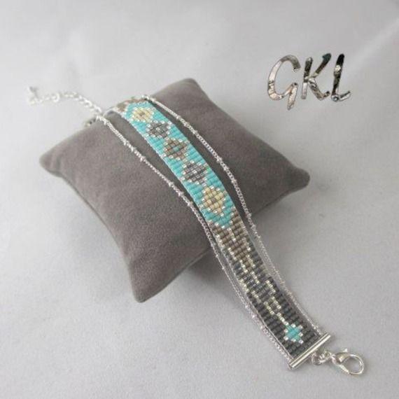 Bracelet tissé perles miyuki turquoise/gris