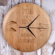 Personalizowany zegar bambusowy W BIEGU idealny na urodziny