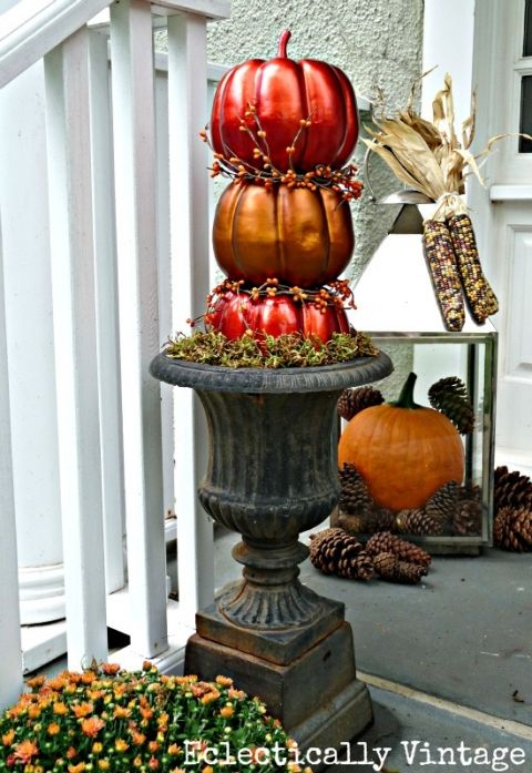 Fall Porch Decorating - tons of great DIY ideas here like these topiary pumpkins!  eclecticallyvintage.com