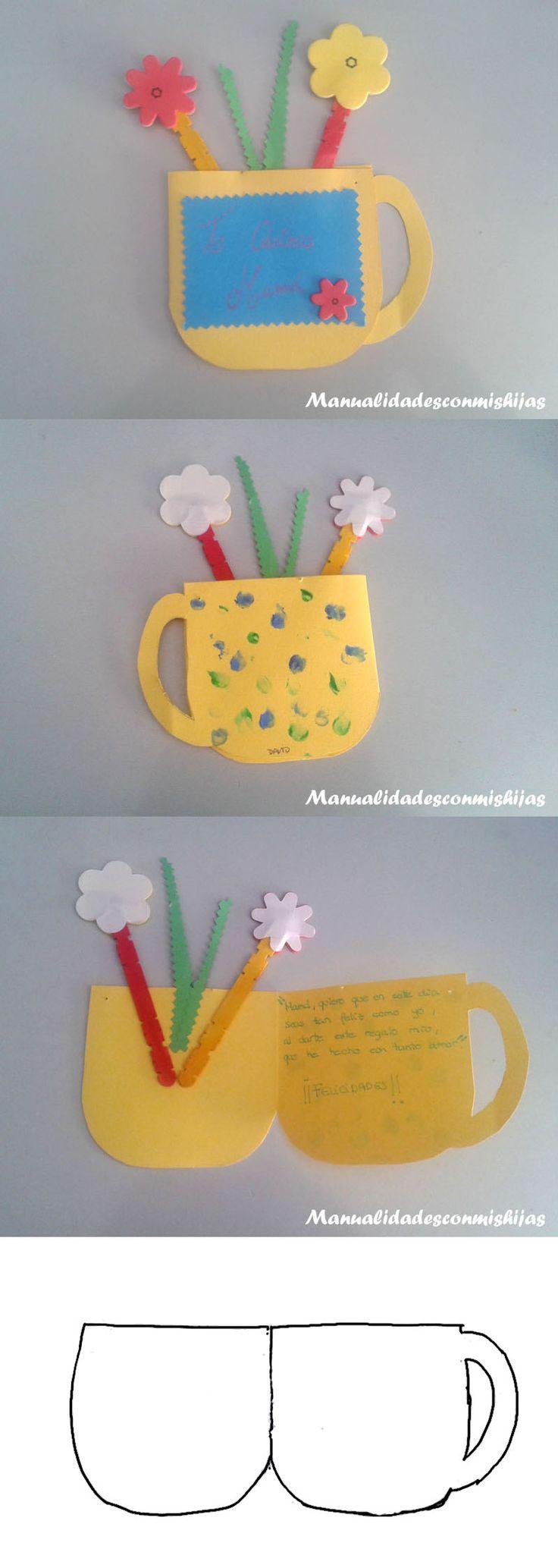 Manualidadesconmishijas: Taza-tarjeta con flores para el Día de la madre