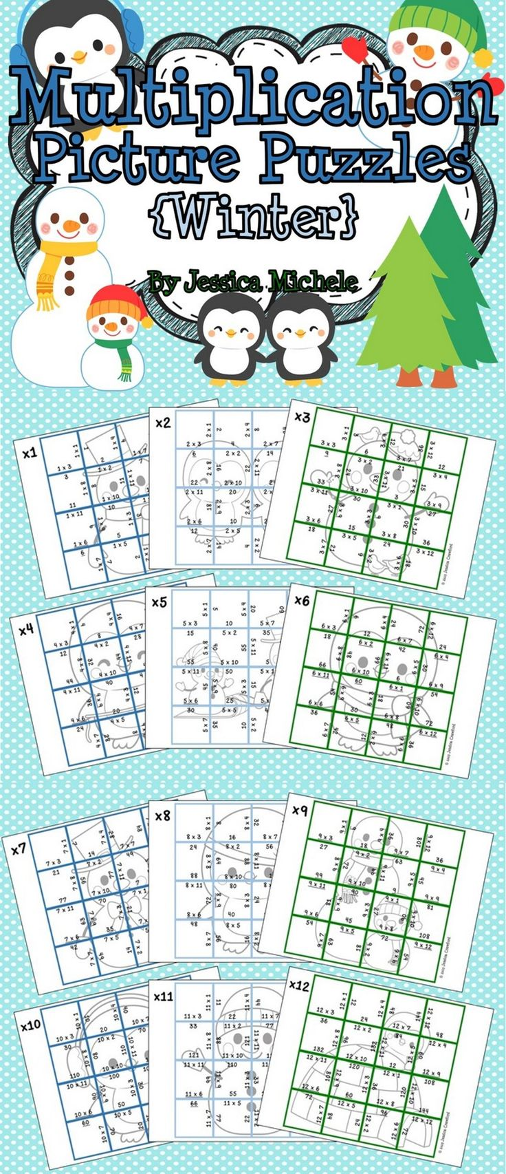 Multiplication Picture Puzzles {Winter} Multiplication