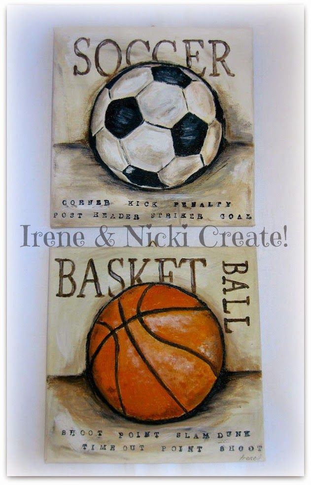 Irene & Nicki Create!  :                Vintage Sports canvas Art          ...
