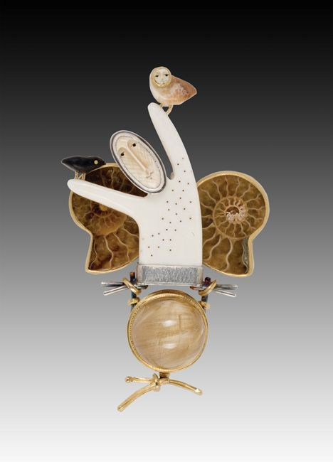 Carolyn Morris Bach - 18k gold, Sterling silver, semi-precious stones, hand carved elements