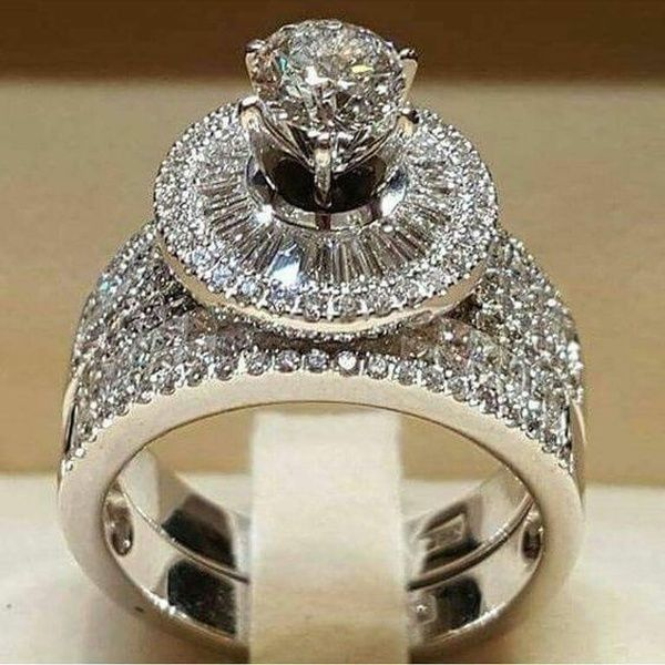 Women Jewelry Vintage Diamante Big Zircon Crystal Engagement Ring Wedding Gift