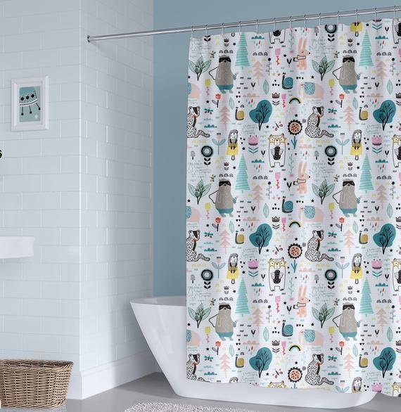 Unisex Kids Shower Curtain Boy Shower Curtain Animals Shower Etsy In 2020 Kid Bathroom Decor Kids Shower Curtain Unisex Kids Bathroom Ideas