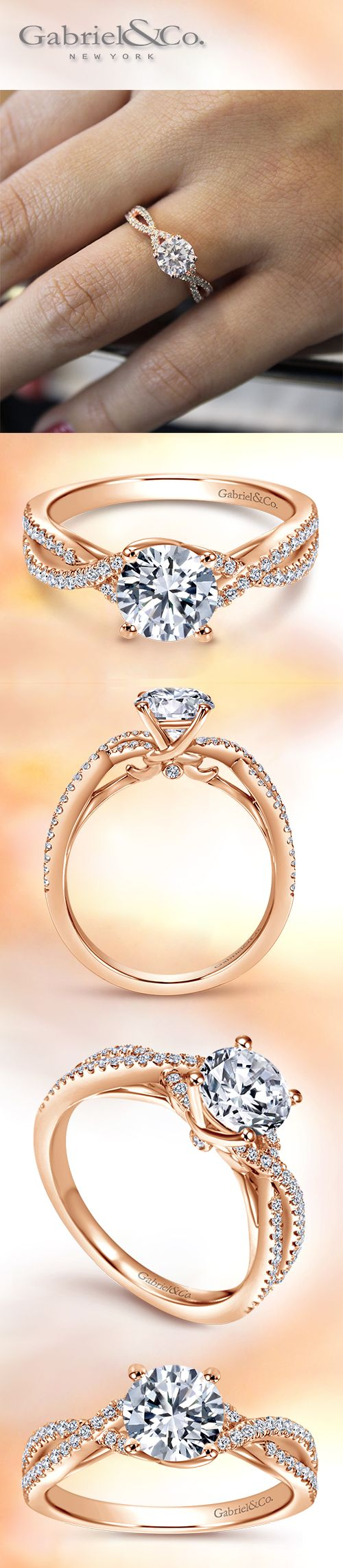 Gabriel & Co. - A contemporary 14k Pink Gold Round-Cut Diamond Engagement Ring encrusted with pav� diamonds on its twisted design.