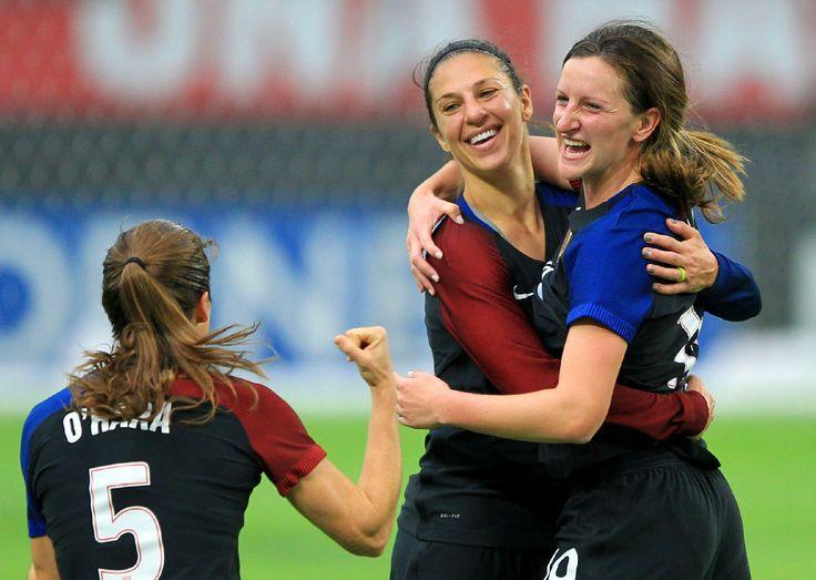 Kelley O'Hara, Carli Lloyd, and Andi Sullivan vs. Switzerland, Minneapolis, Oct. 23, 2016. (Andy Clayton-King/AP)