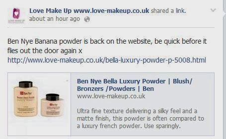 Heads Up: Ben Nye Banana Powder back in stop at www.love-makeup.co.uk!!!