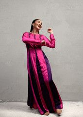 Happy girls are the prettiest. Our gorgeous model in the Sadi Kaftan.