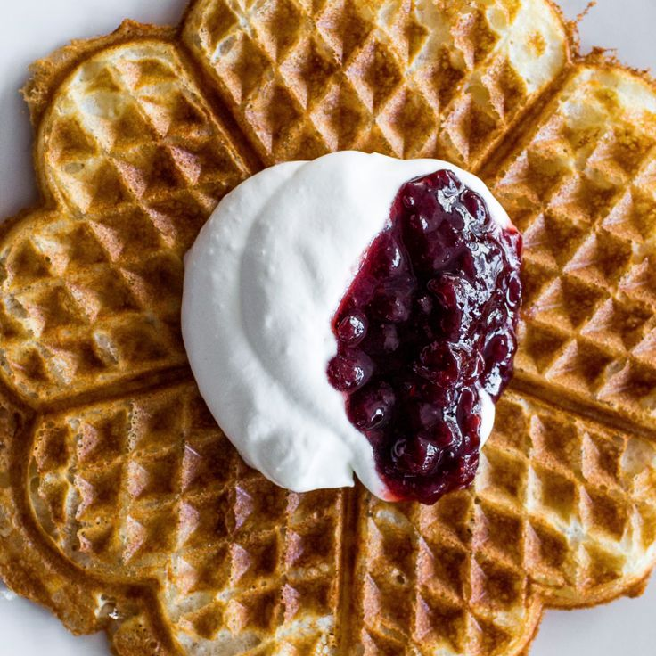 This is Magnus Nilsson's favorite kind of waffle, crisp and delicate in an almost unreal way. Enjoy them hot off the iron with whipped cream and jam. Check out more in Nilsson's Nordic Cookbook.