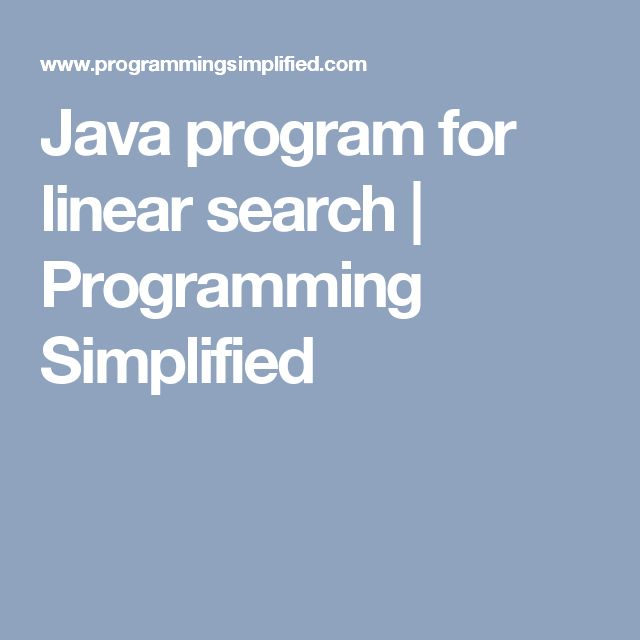 Java program for linear search | Programming Simplified