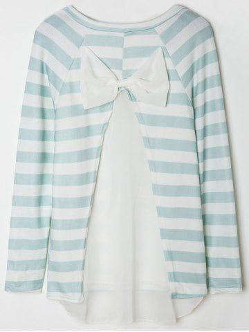 Stylish Scoop Collar Long Sleeve Spliced Striped Women's Knitwear