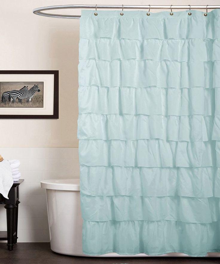 Blue Ruffle Shower Curtain