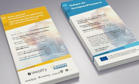 www.weblify.pl/europeanpioneers - ulotki promocyjne dla programu EuropeanPioneers // flyers promoting EuropeanPioneers accelerator