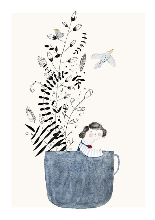 The girl and the teacup  Print A4 by studiomeez on Etsy, €12.99
