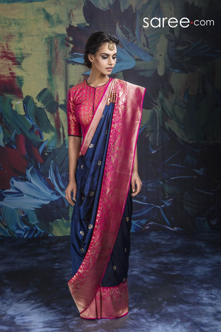 BLUE AND PINK BANARASI SILK SAREE WITH WEAVING WORK