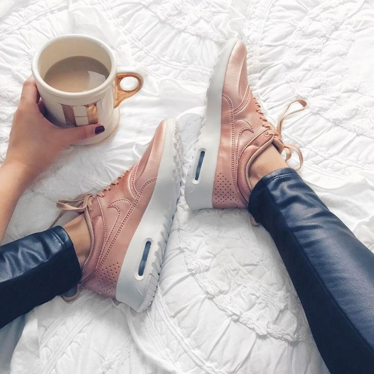 Rose gold Nike Air Max Thea Premium with leather leggings