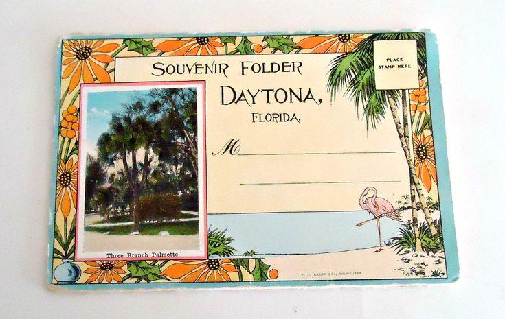 Souvenir Folded Postcard Daytona Florida Postcards 1930's by TreasureCoveAlly on…