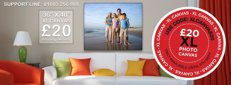 "For one week only we are offering the first 100 customers a XL 36""x40"" Canvas for only £20 including delivery!  Simply choose the 36""x40"" canvas from the Full Wrap section in the Smiley Hippo Software, then add your image and enter the code: XLCANVAS20 in the shopping cart.  But don't delay because it's only the first 100 customers that will benefit from this massive discount.  http://www.smileyhippo.com/photo-canvas-full-wrap"