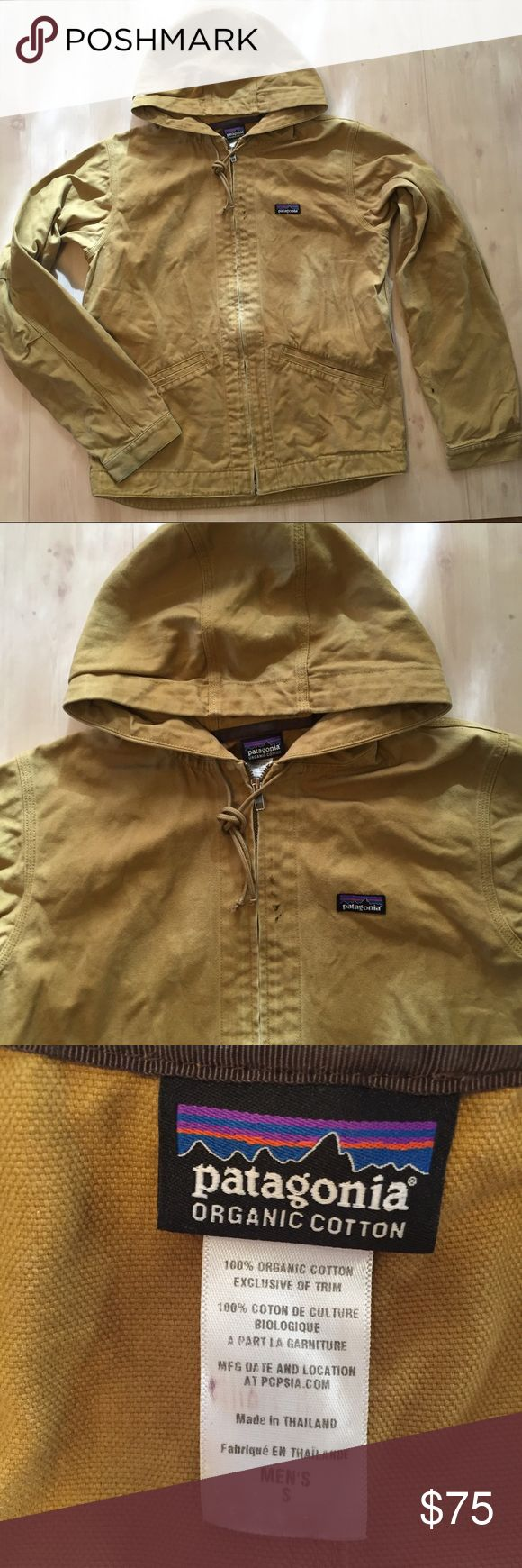 Patagonia Organic Cotton men jacket hooded zip up Patagonia organic cotton mens jacket hoodie  zip up logo lightweight khaki twill Sz Small . Great street wear work wear uniform coat . Easy movement arms. See pics has minor flaws that add character? Artist paint on the sleeves ,price reflects paint . See pics for condition. I took $25 off if my original comp due to  paint 🎨 Patagonia Jackets & Coats Lightweight & Shirt Jackets