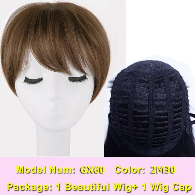 color for haircuts shangke brown hair wigs synthetic wigs 4950