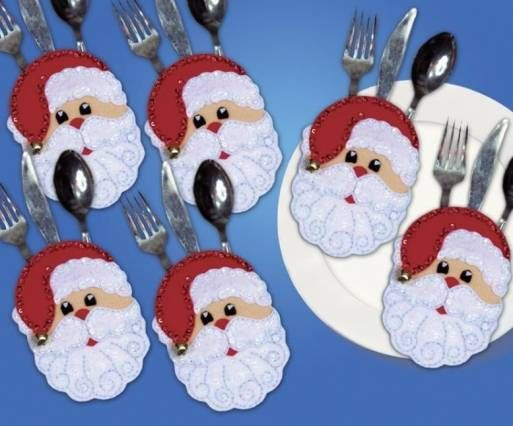 These Santa faces cutlery are super easy to make and they are sure to put a smile on your guests faces!