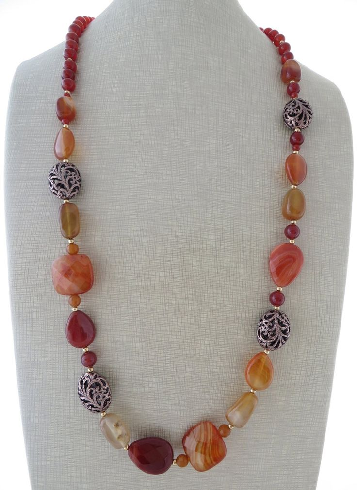 Agate necklace, orange gemstone necklace, long necklace, uk beaded necklace, carnelian necklace, uk jewellery, italian jewels, christmas by Sofiasbijoux on Etsy