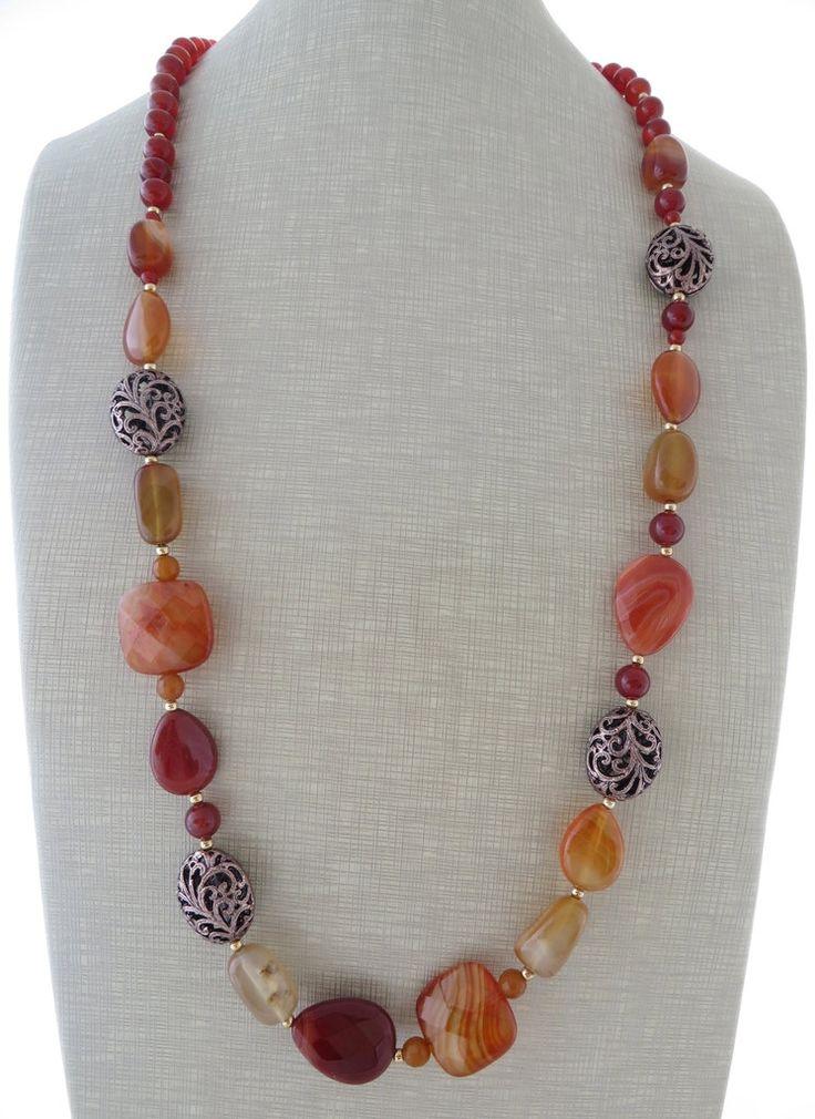 Agate necklace, orange gemstone necklace, long necklace, uk beaded necklace, carnelian necklace, uk jewellery, italian jewels, christmas by Sofiasbijoux on Etsy