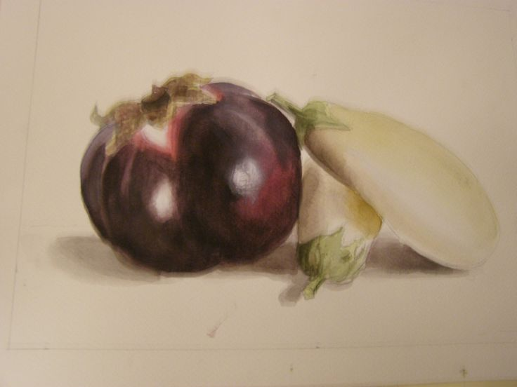 Two aubergines- watercolour