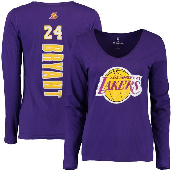 Kobe Bryant Los Angeles Lakers Fanatics Branded Women's Stacked Name & Number V-Neck Long Sleeve T-Shirt - Purple - $29.99