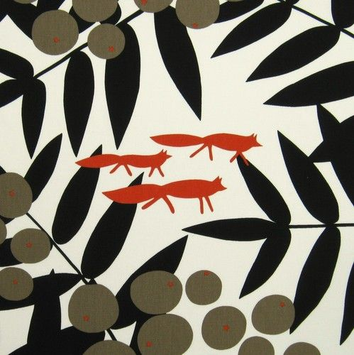 Scandinavian Fabric Vtg 70s Retro Fox DIY Cushion Curtains Marimekko Heals Era | eBay