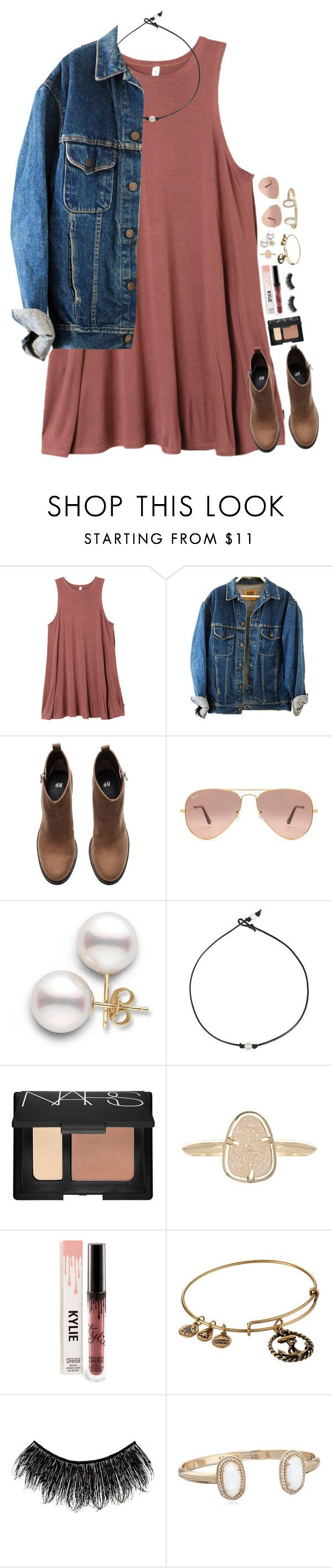 """""""Untitled #135"""" by tortor7 ❤ liked on Polyvore featuring RVCA, H&M, Ray-Ban, NARS Cosmetics, Kendra Scott, Alex and Ani and Illamasqua"""