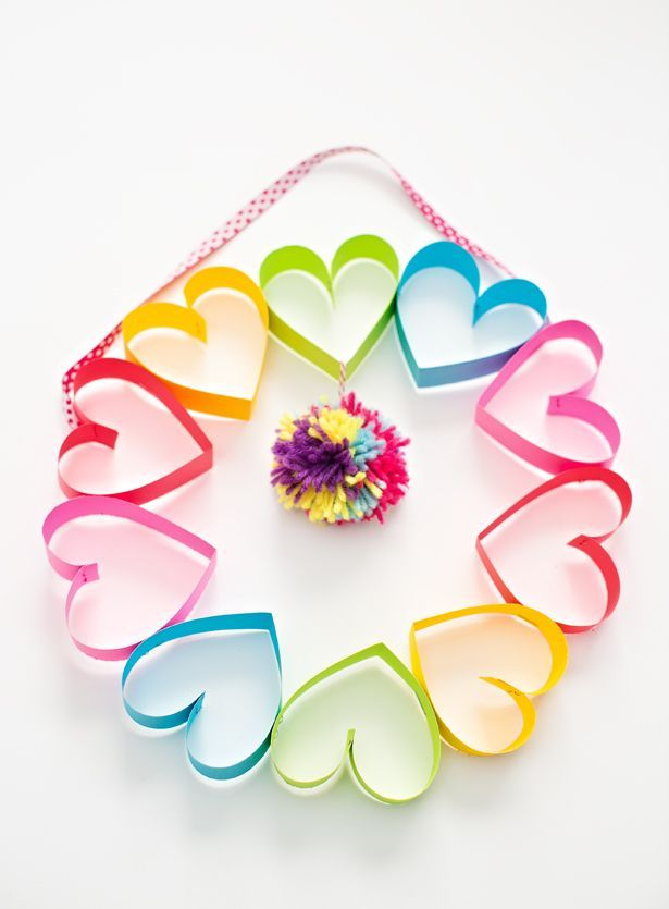 DIY Rainbow Paper Heart Pom Pom Wreath. Cute Valentine's Day Craft for Kids.
