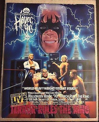 WCW Halloween Havoc 1990 Poster 16x20 Sting Ric Flair Sid WWE WWF