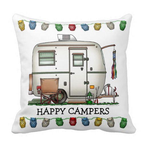Cute RV Vintage Glass Egg Camper Travel Trailer Pillow