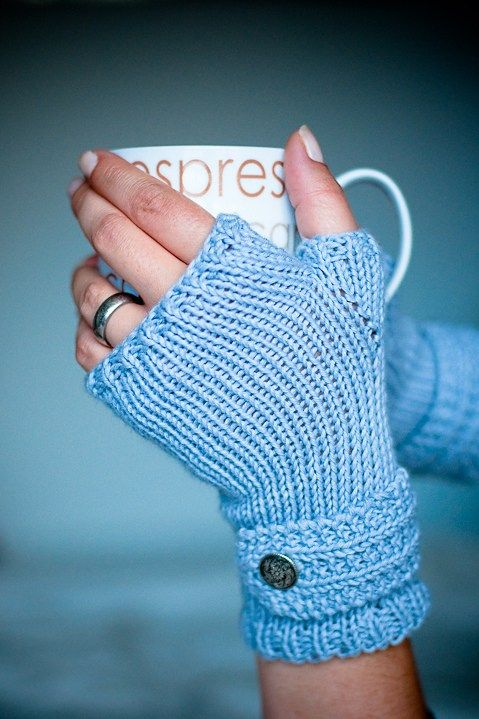 """Free knitting pattern for Fable Fingerless Mitts easy pattern - Sian Parker created this easy pattern that is worked flat on straight needles. Two sizes: Small would fit a hand circumference (around the knuckles) of 7"""" & are 7"""" long. Medium would fit a hand circumference of 7.5"""" & are 7.5"""" long. fingerless gloves wristers handwarmers wristwarmers"""