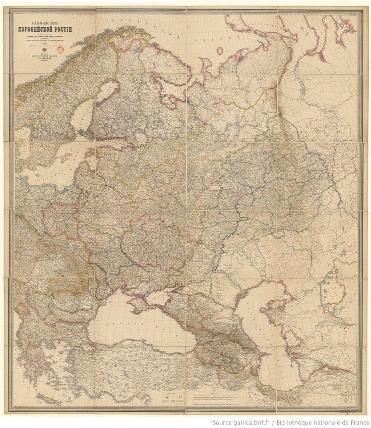 1800 th c_ Russie (Carte générale de la Russie d'Europe avec les parties limitrophes de l'Europe occidentale, de la Turquie, de la Perse, de la Sibérie et de l'Afghanistan... 1/2 520 000, en russe.)