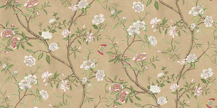 Nostell Priory Old Gold/ Green (311418) - Zoffany Wallpapers - A delicate floral trailing wallcovering featuring a Chinoiserie design which was popular with aristocrats in the 18th C. Shown here in various colours, including old gold and green. Other colourways are available. Please request a sample for a true colour match. Wide width product.