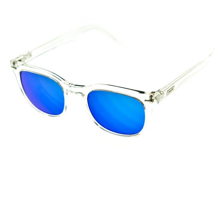 """MY PICK OF THE DAY! SPEKTRE - MAS - Transparent frame with blue mirror lenses - The ultimate in """"chill"""" with the ice like appearence of the transparent frame and the """"POP"""" of the mirror blue lenses. Not for the shy or timid. This model is stylishly chic and at the same time ready for the the street.  And of course....100% Made in Italy  Memento Audere Semper is available here! shop.jennigraf.com"""