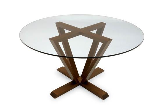 "Astro table, smoke glass, clear glass.  Walnut or espresso base.  Italian design by Caligaris, 55"" round.  www.pomphome.com"