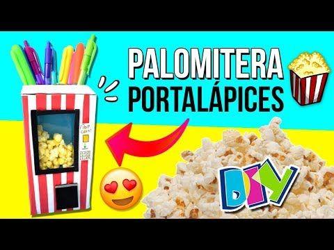 Lapicera CASERA en forma de MAQUINA DE PALOMITAS MANUALIDADES faciles ROOM DECOR Escritorio - YouTube