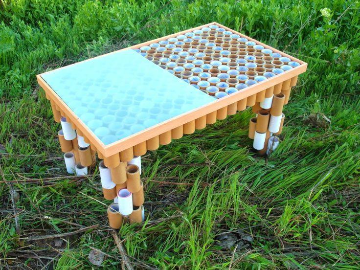 de centro construida con tubos de cartón by Tamal  Nuestros muebles