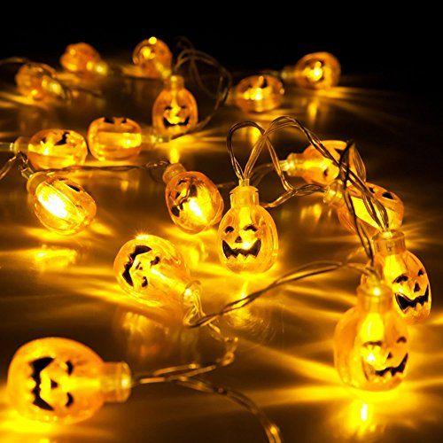 Halloween Pumpkin Lights SurLight Battery Operated 3D Pumpkin 20 LED Fairy String Lights Halloween Christmas Decoration Lights Warm White Pumpkin Light 72ft22m *** See this great product.