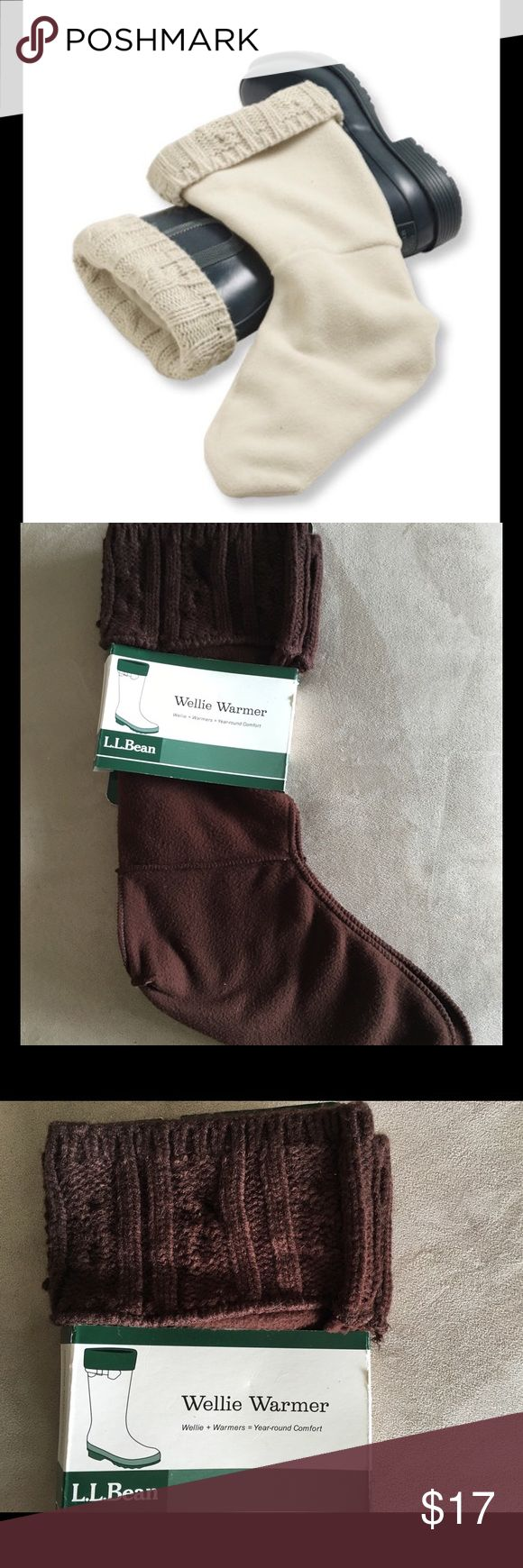 Brown Wellie Liners New brown Wellie warmers.  Fleece to keep you toes toasty. Top part is cable knit and folds over your boots. Women's 9/10, but flexible IMO. Sorry no trades L.L. Bean Shoes Winter & Rain Boots