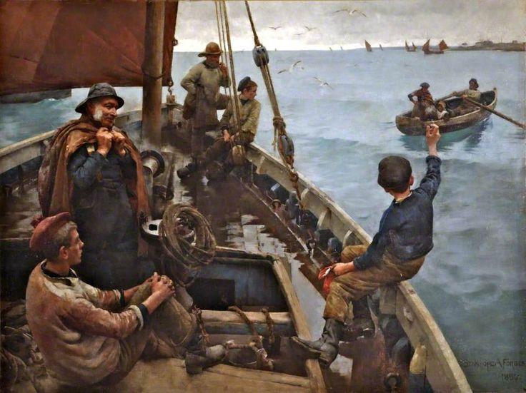 "Stanhope Alexander Forbes  (Irish Realist Painter, 1857-1947)  ""Off to the Fishing Ground"", 1886."