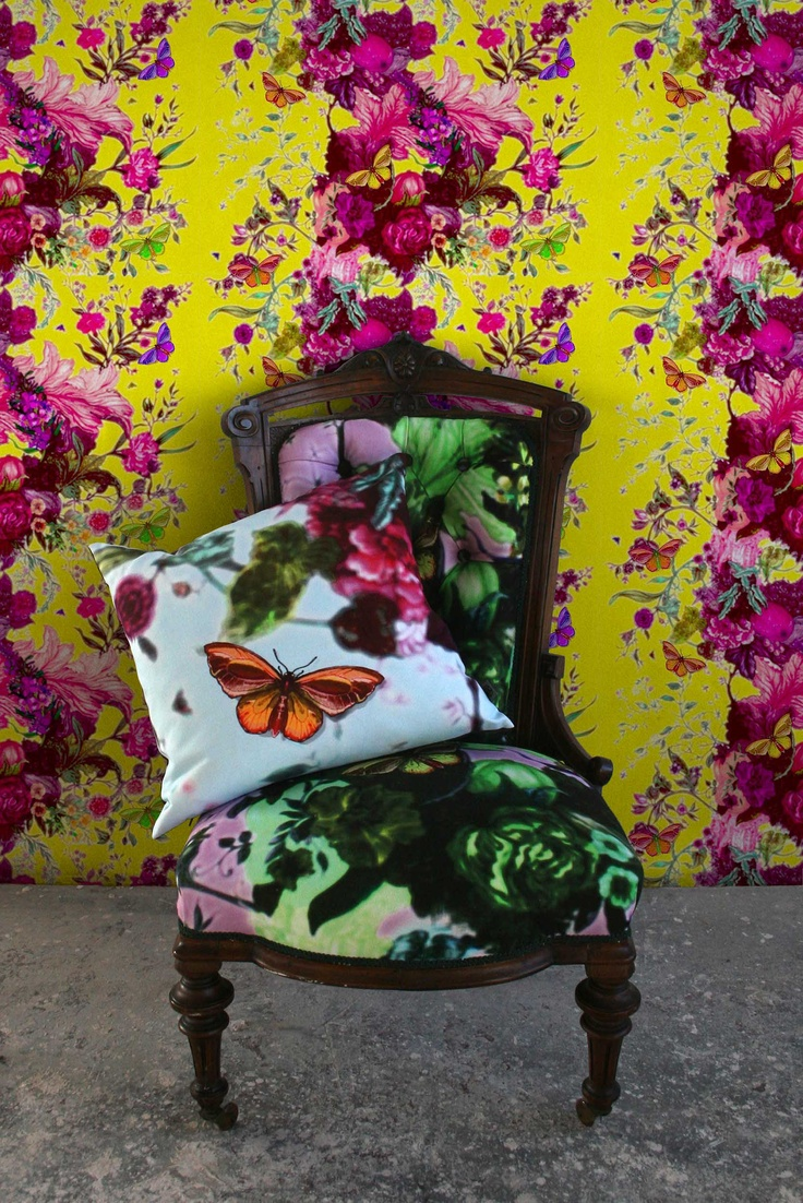 Butterfly Blurr wallpaper, fabric and cushion